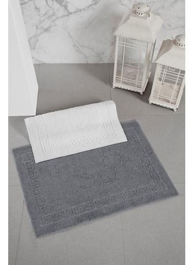 For Home 2 Adet %100 Pamuk Ayak Havlu Paspası Beyaz-Antrasit Beyaz